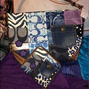 Coach 2 pc Patchwork LIMTED Carly handbag w wallet